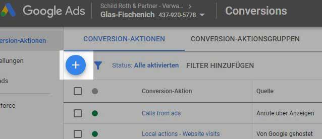 Google Ads Conversion Aktion hinzufügen
