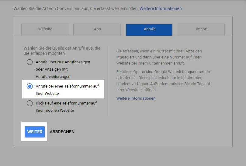Conversion Anrufe bei einer Telefonnummer auf der Webseite