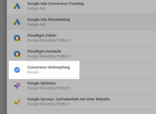 Conversion Verknüpfung innerhalb des Google Tag Managers